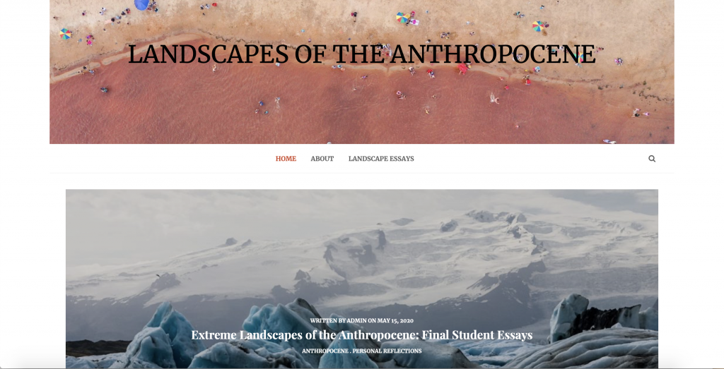 Screenshot of Anthropocene course webpage